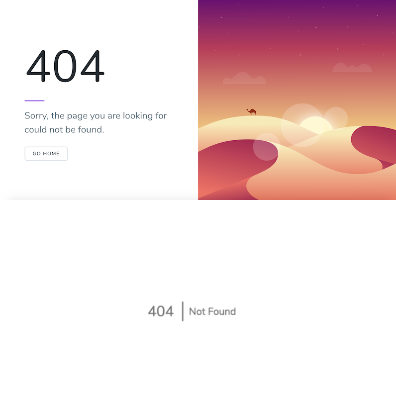 Laravel 5.7 404 view (top) and 5.8 404 view (bottom)