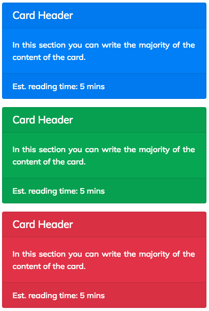 Cards with contextual colours