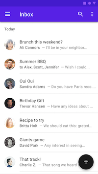 Inbox with FAB to create a draft email